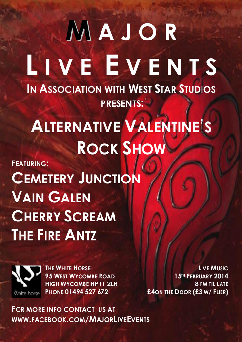Valentines Show - poster with bands